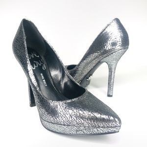 Nine West Love Fury Silver Crackled Heels SH0840